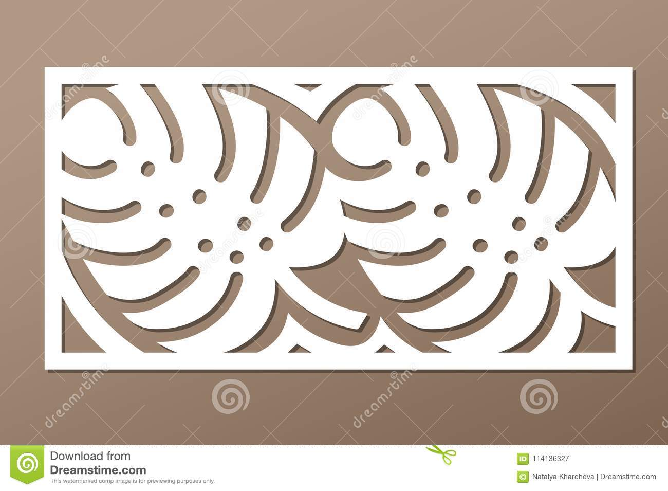 Decorative Panel Laser Cutting Wooden Panel Elegant Modern Monstera Pattern Tree Leave Stencil Ratio 1 2 Vector Illustration Stock Vector Illustration Of Birch Birthday 114136327