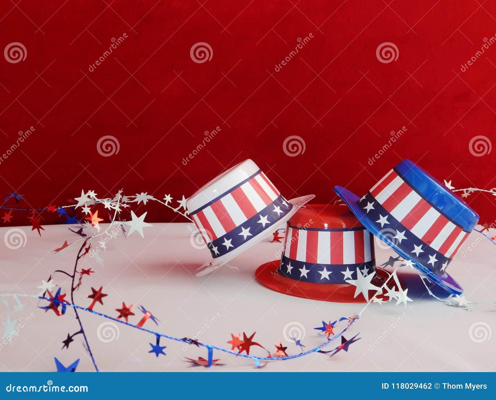 Decorative patriotic hats stock photo  Image of colors