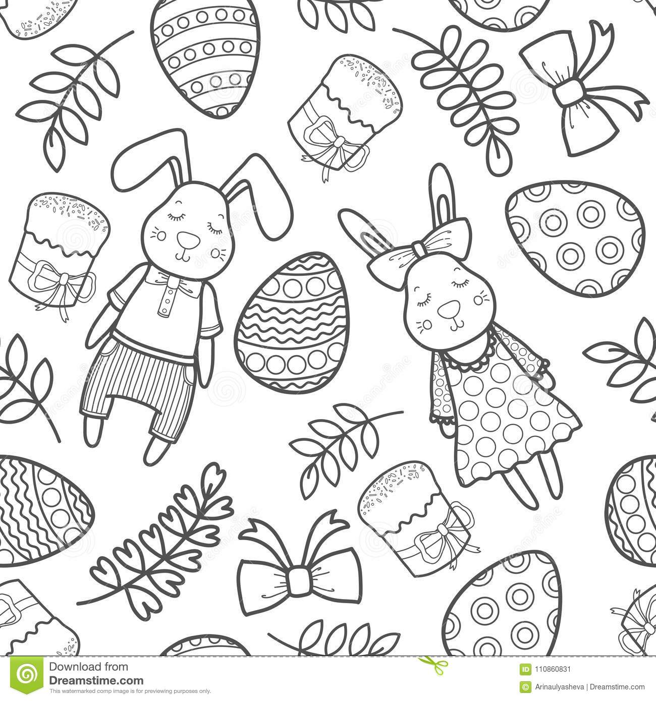 Decorative Pattern For A Holiday Easter  Rabbits Girl And
