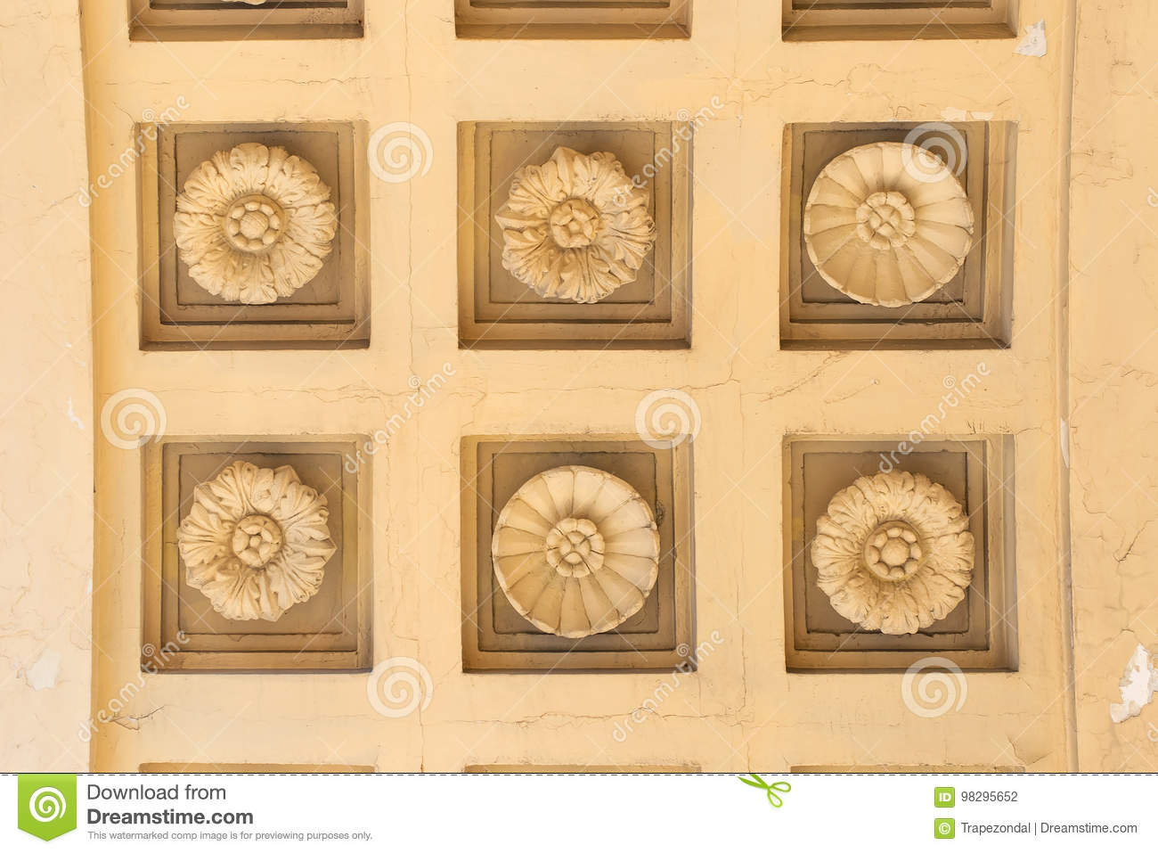 Decorative Pattern On The Wall Stock Photo - Image of wall, molding ...