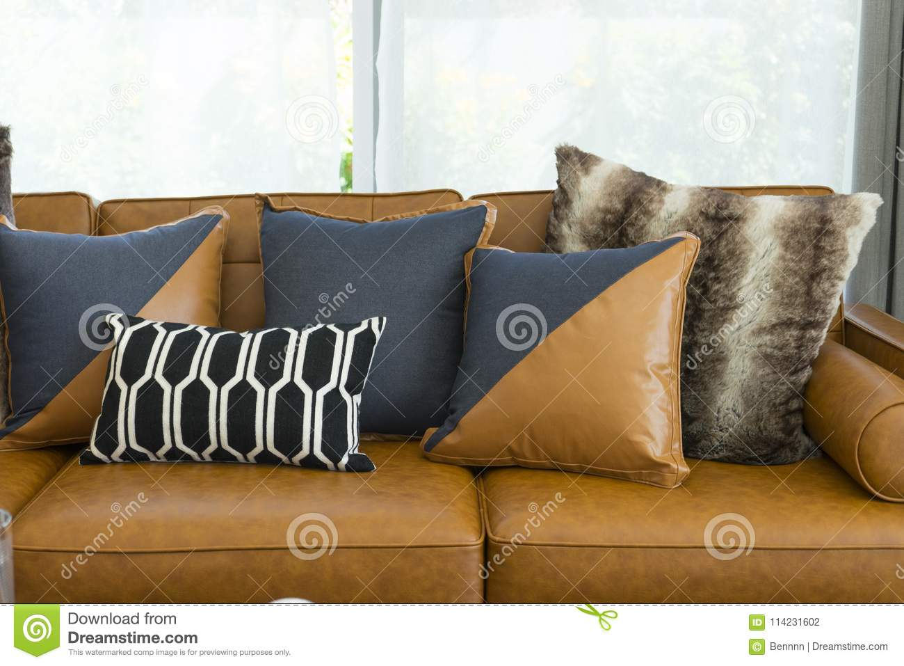 Decorative Pillow On Leather Sofa In Living Room Stock Photo ...