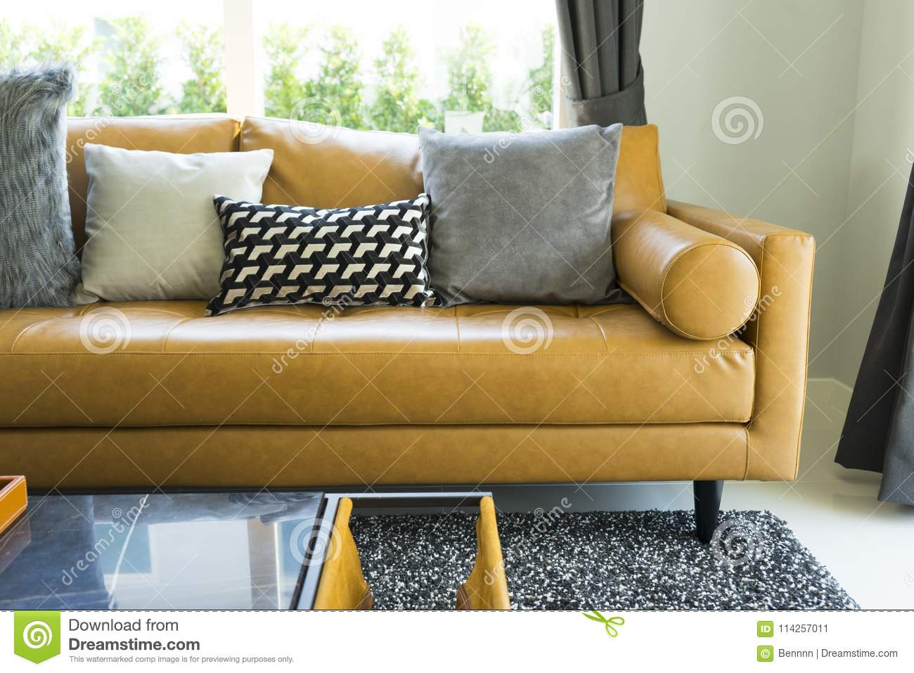 Picture of: Decorative Pillow On Leather Sofa In Living Room Stock Image Image Of Comfortable Elegance 114257011