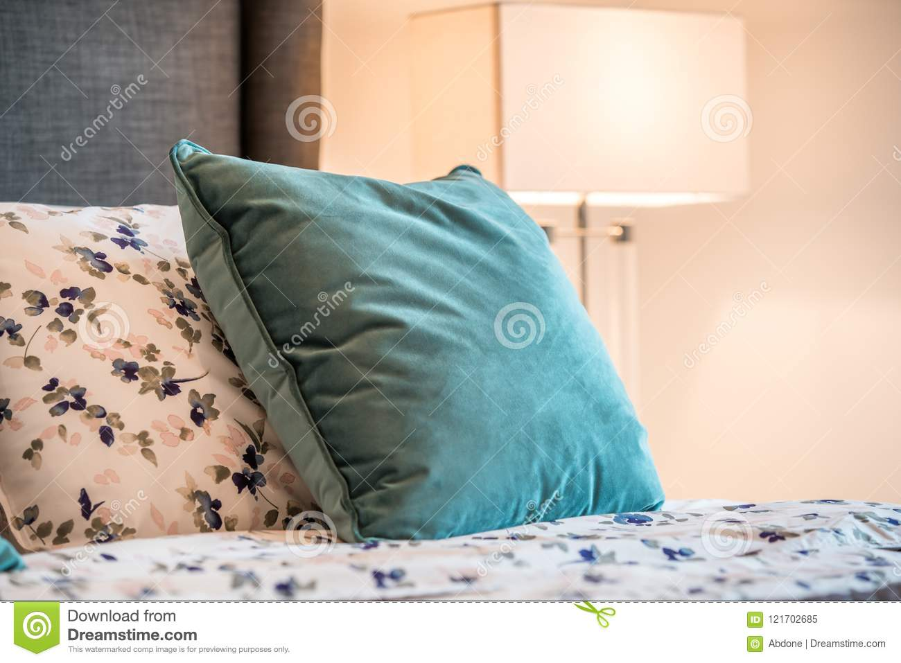 Cozy Decorative Pillows On A Bed Stock Image Image Of Home Cozy 121702685