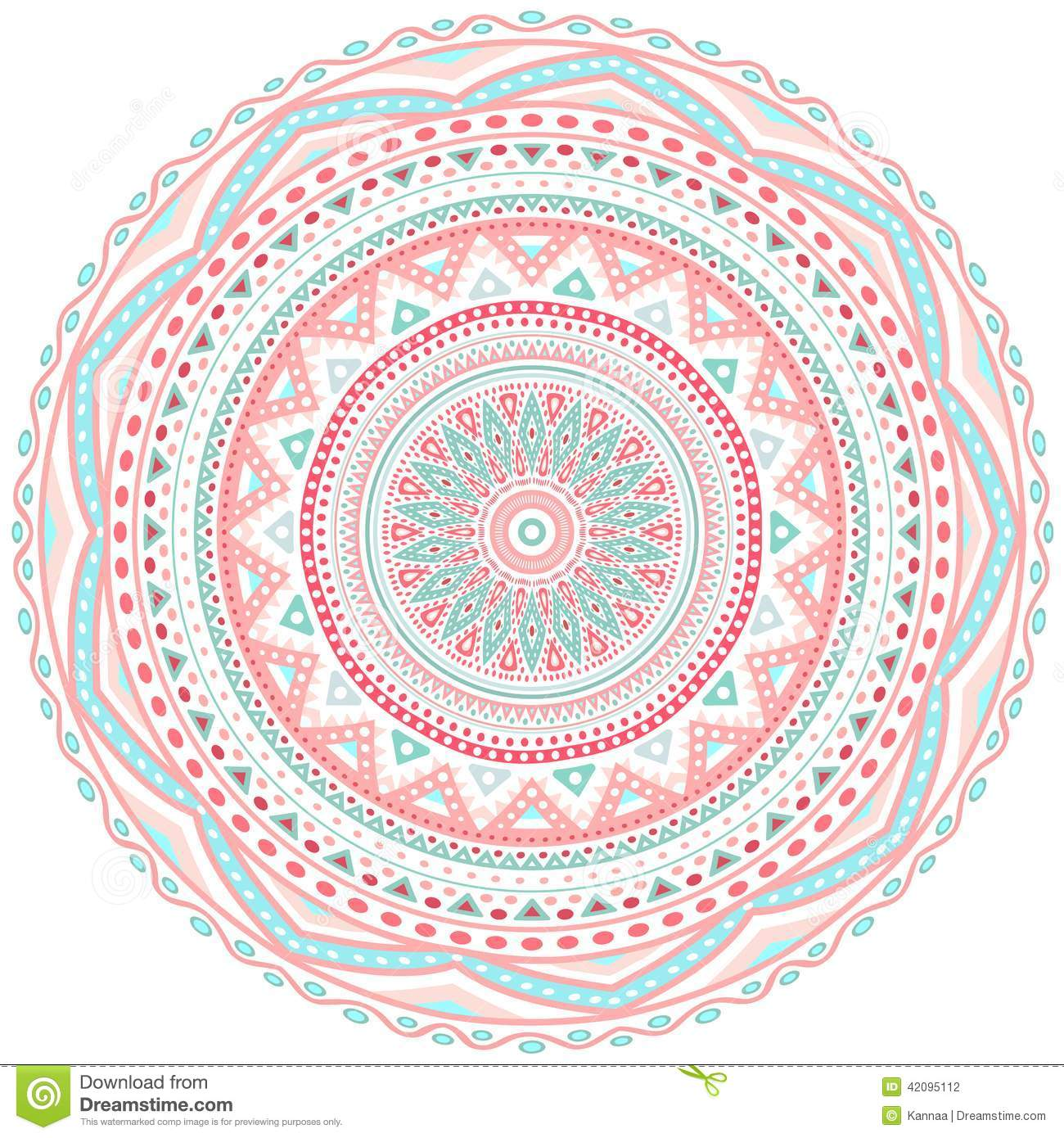 Decorative Pink And Blue Round Pattern Frame Stock Vector