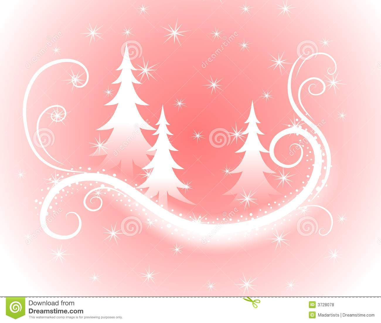 background christmas decorative gradient pink silhouette snowflakes swirling trees - Pink Christmas Trees