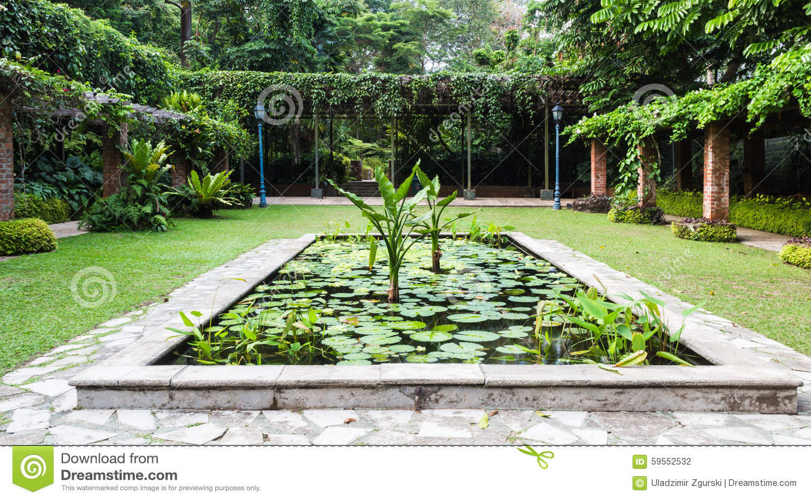 Decorative pond in the botanic garden stock photo image for Decorative ponds