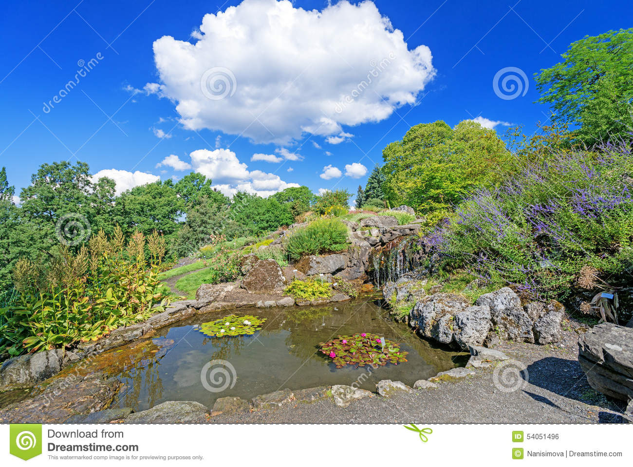 Decorative pond with waterfall and flowers at Oslo city park