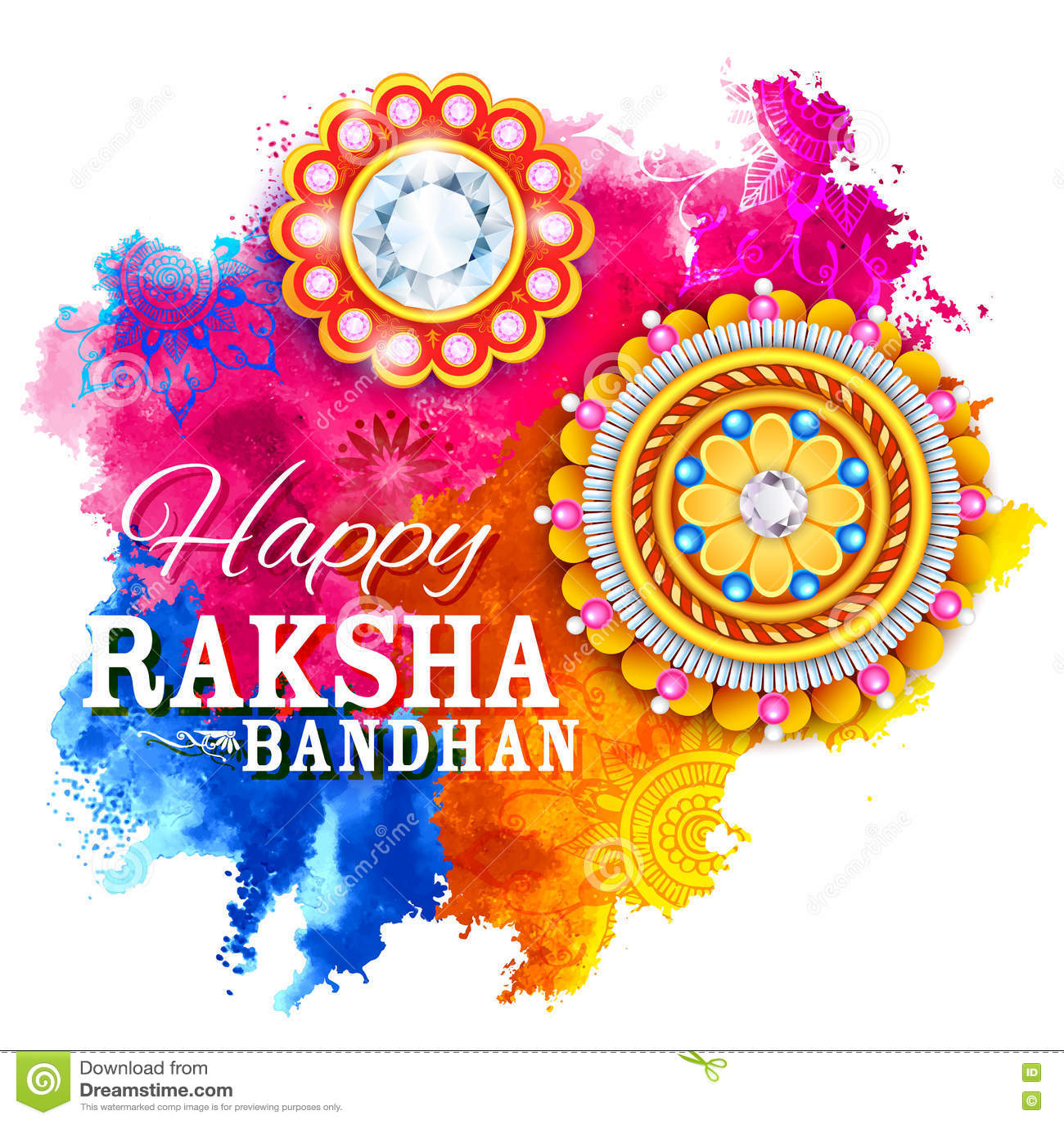 Rakhi Festival Quotes Brother: Decorative Rakhi For Raksha Bandhan Background Stock
