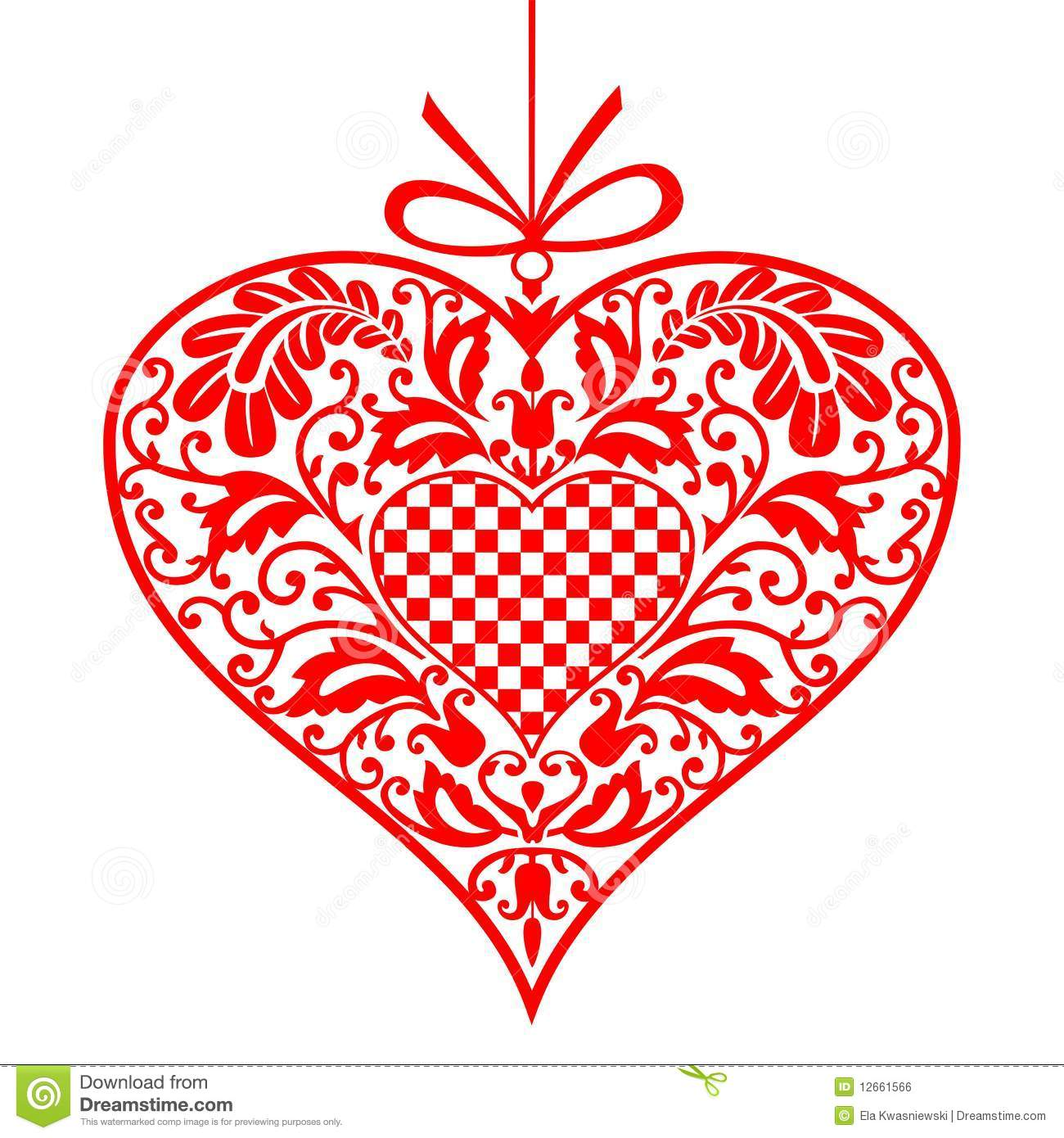 Vector ornamental heart to valentine's day, on white background.