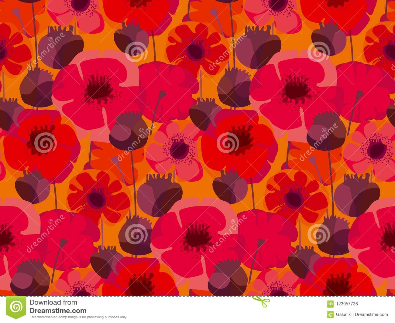Decorative Red Poppy Floral Repeatable Motif Stock Vector