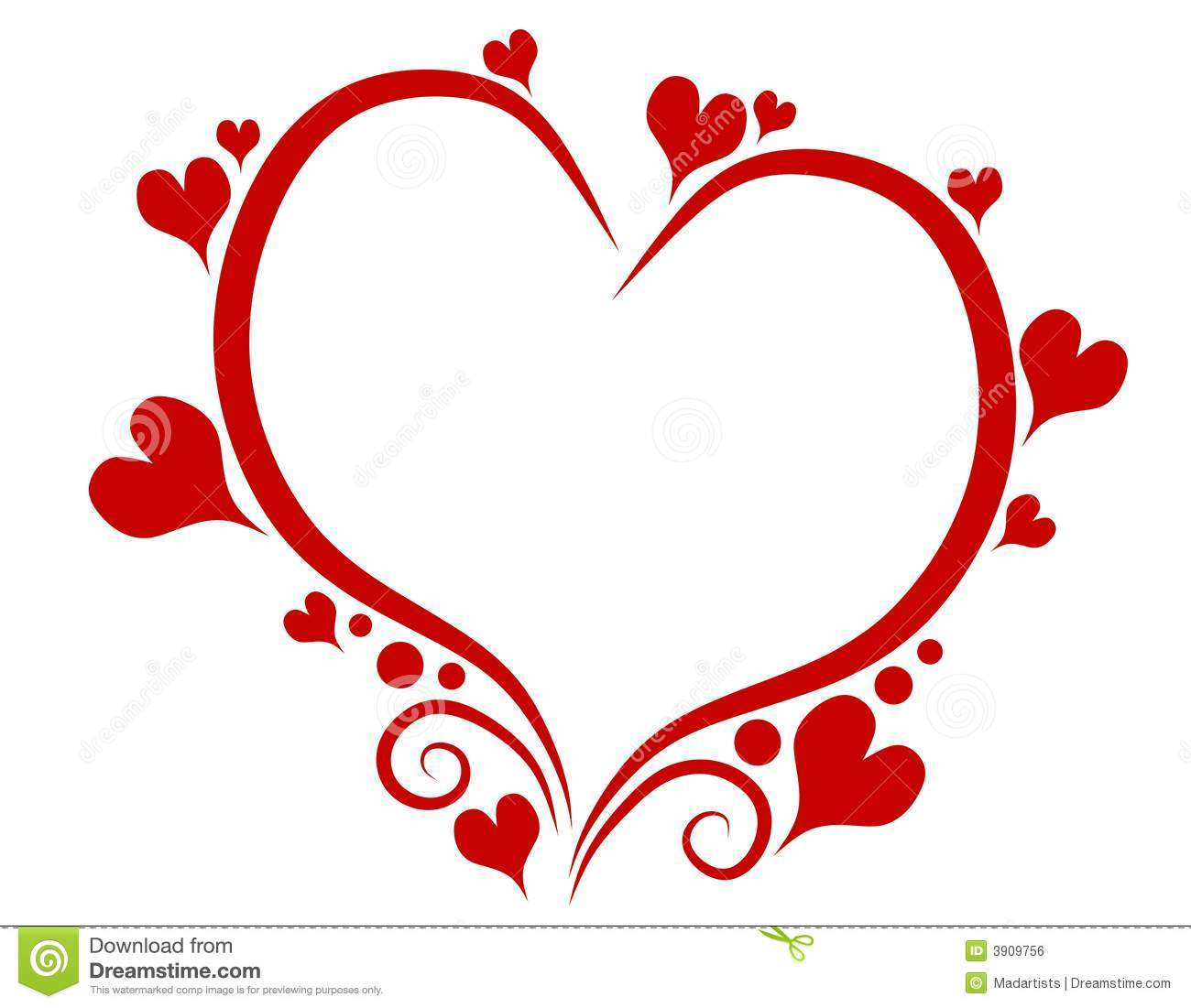 A Clip Art Illustration Featuring A Decorative Red Outline Of A Heart  Isolated On White