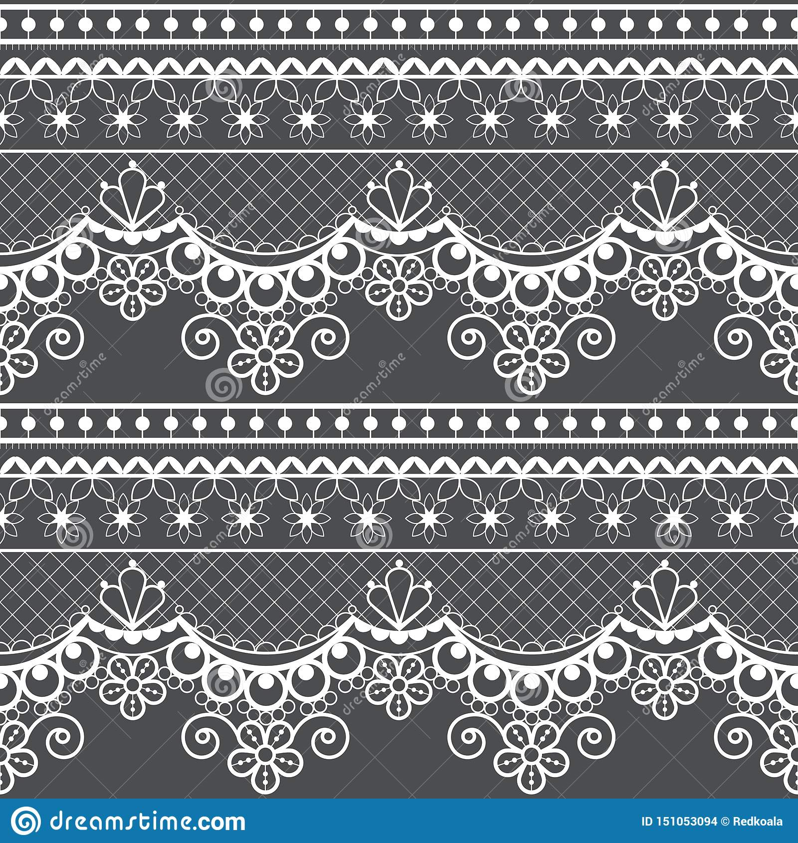 Wedding lace French or English seamless pattern set, white ornamental repetitive design with flowers - textile design