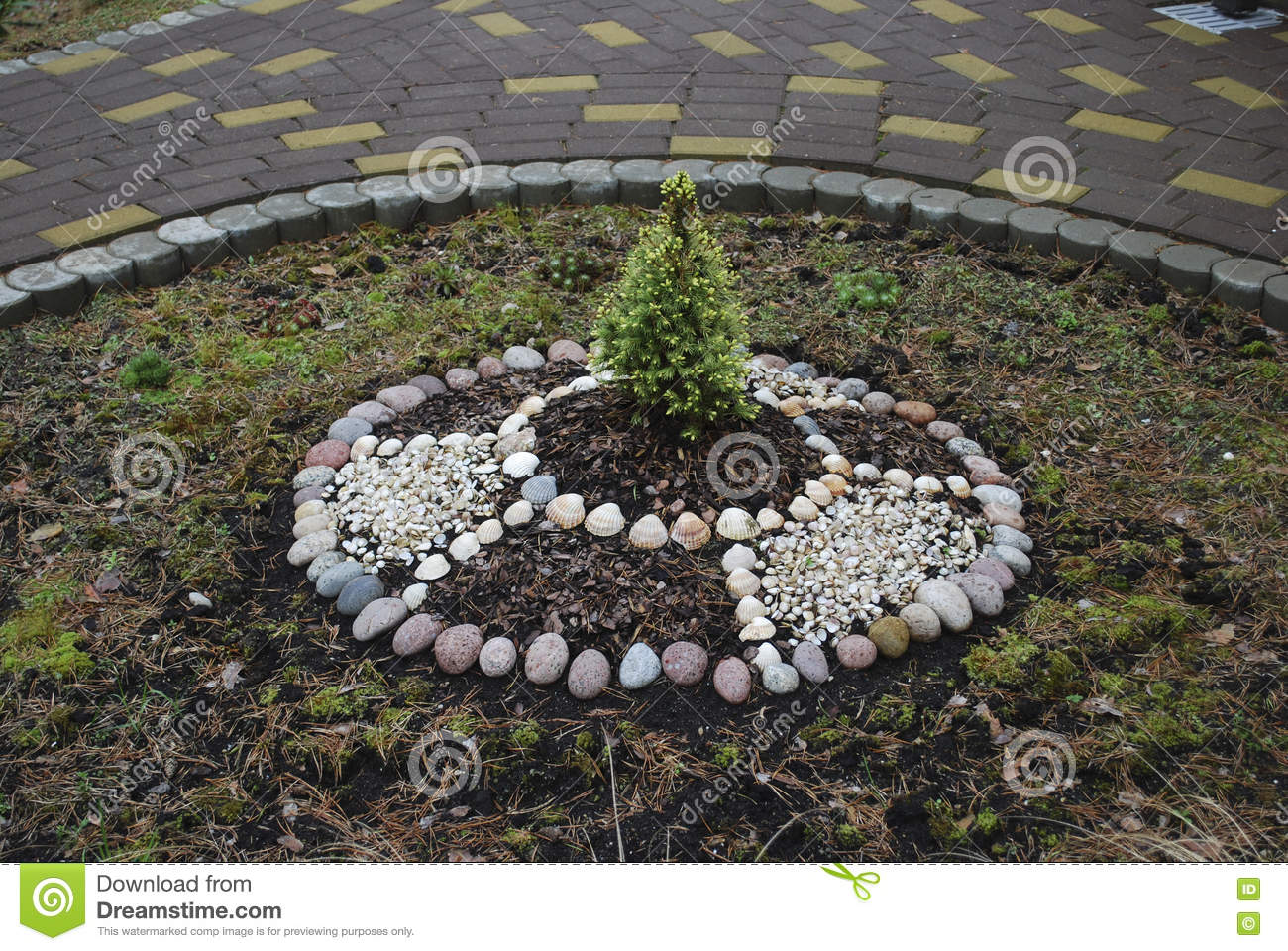 Decorative Stones For Flower Beds : Decorative ring flower bed in the garden stock photo