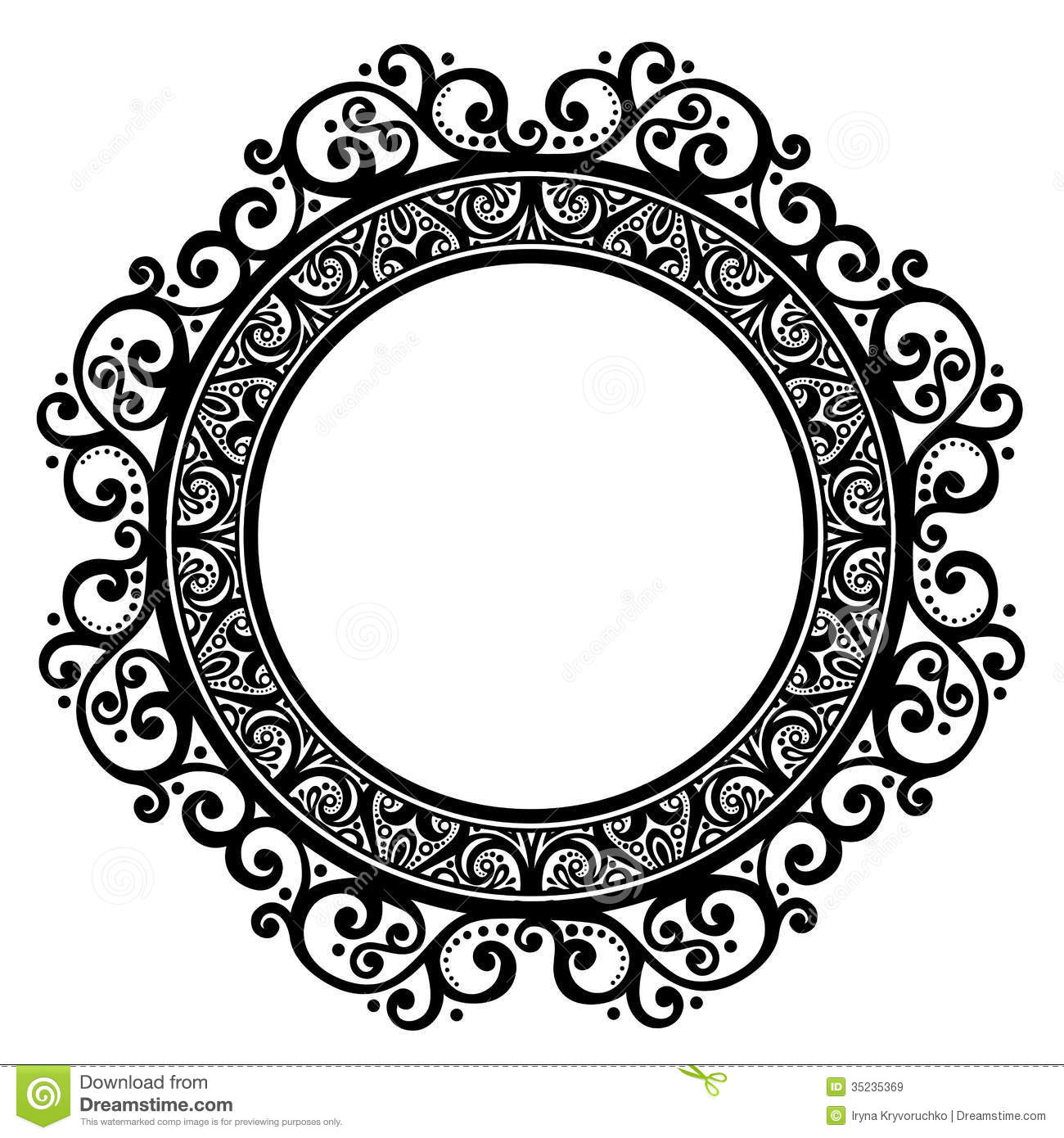 Decorative Round Frame stock vector. Illustration of frost - 35235369