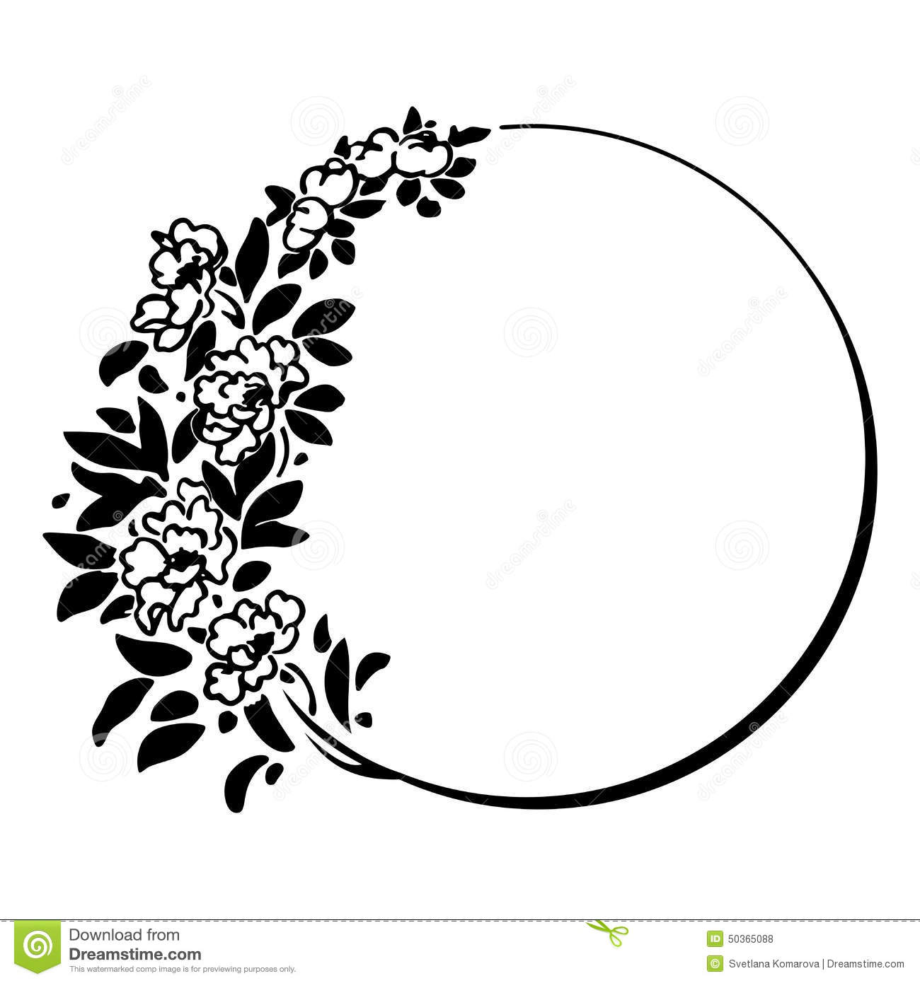Round frame with decorative branch vector illustration stock - Branch Decorative Floral Frame Round