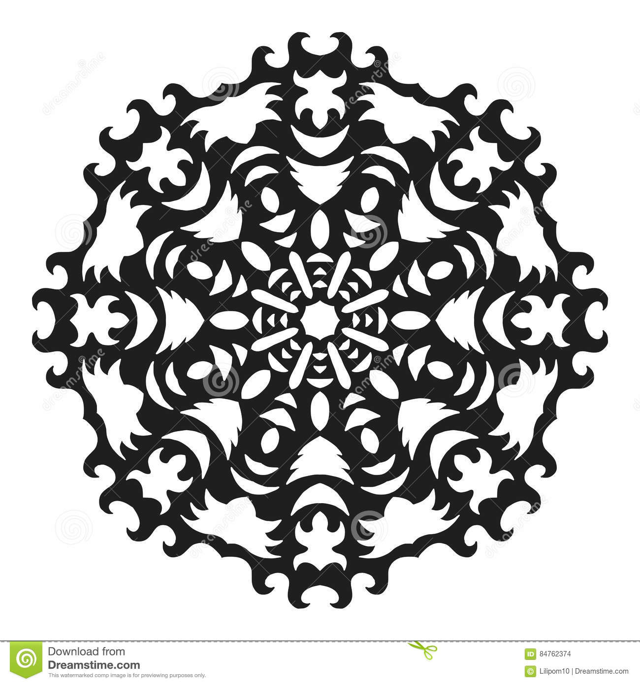 decorative round ornament lace silhouette of snowflake isolated on rh dreamstime com Elegant Snowflake Vector Single Snowflake Vector