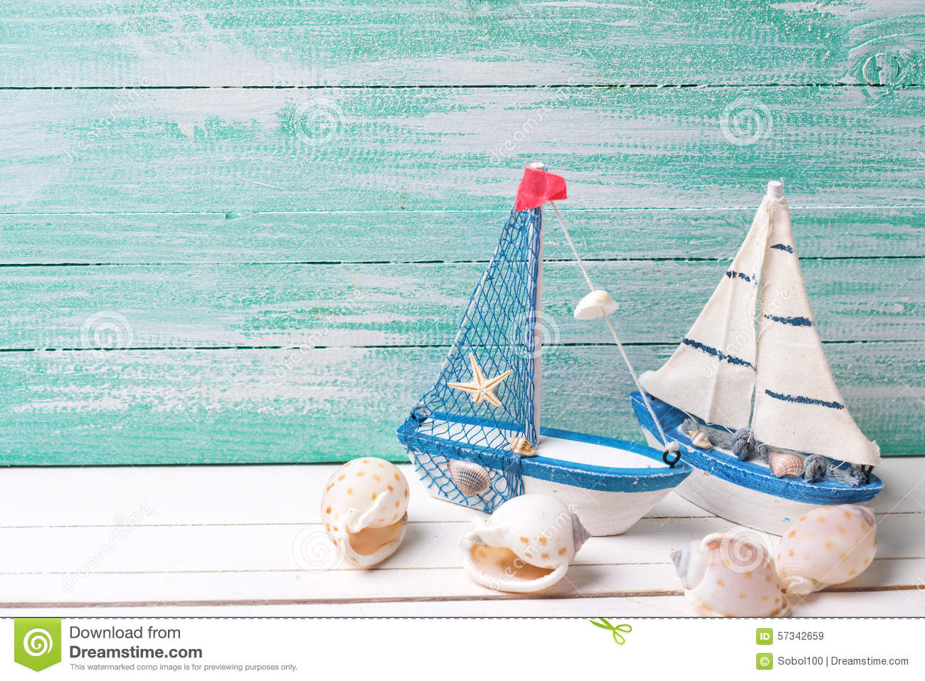 Decorative Sailing Ships And Marine Items On Wooden