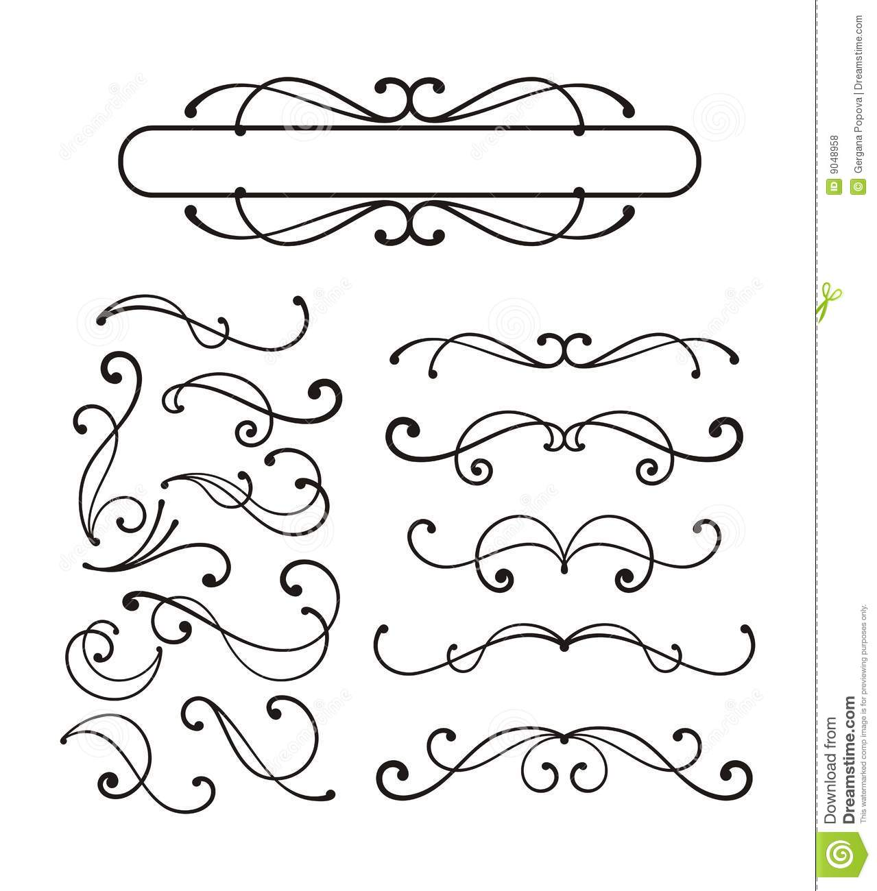 Decorative scroll ornaments stock vector illustration of for Decorative scrollwork