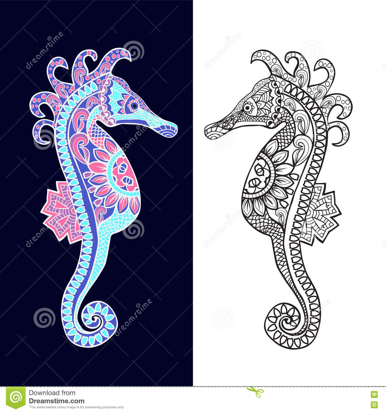 Decorative Sea Horse In Zentagle Style Stock Vector