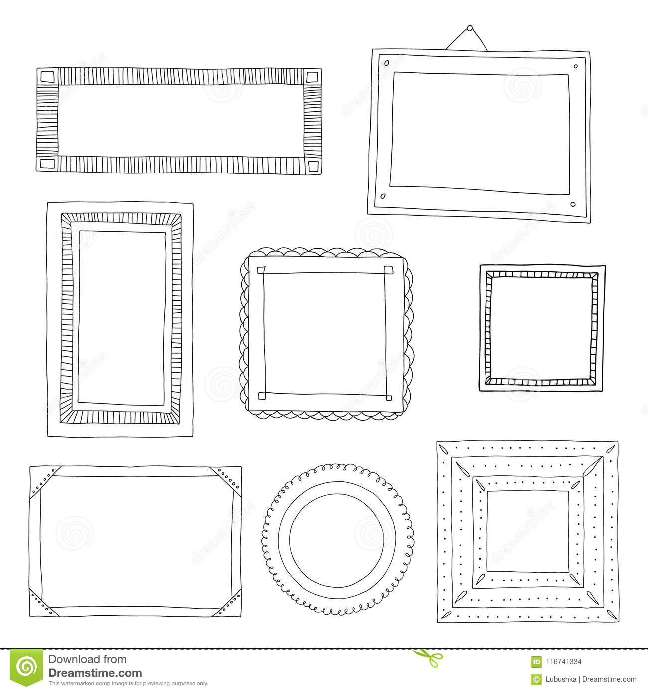 Decorative Set Template Photo Frames Isolated On White Background Scrapbook Or Digital Concept These You Can Use For Kids Picture Your