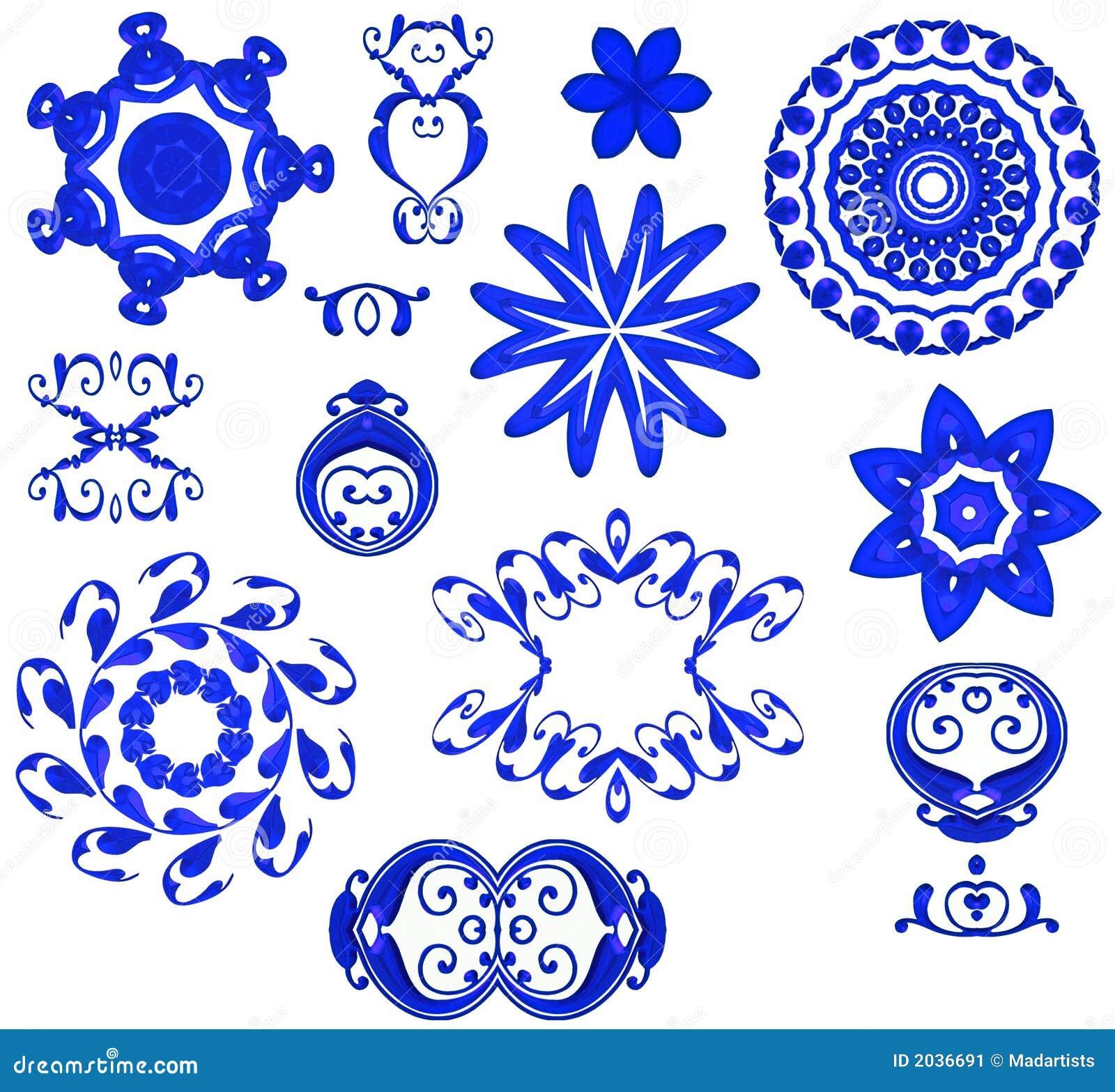 Shapes Designs Art : Decorative shapes icons blue stock illustration image