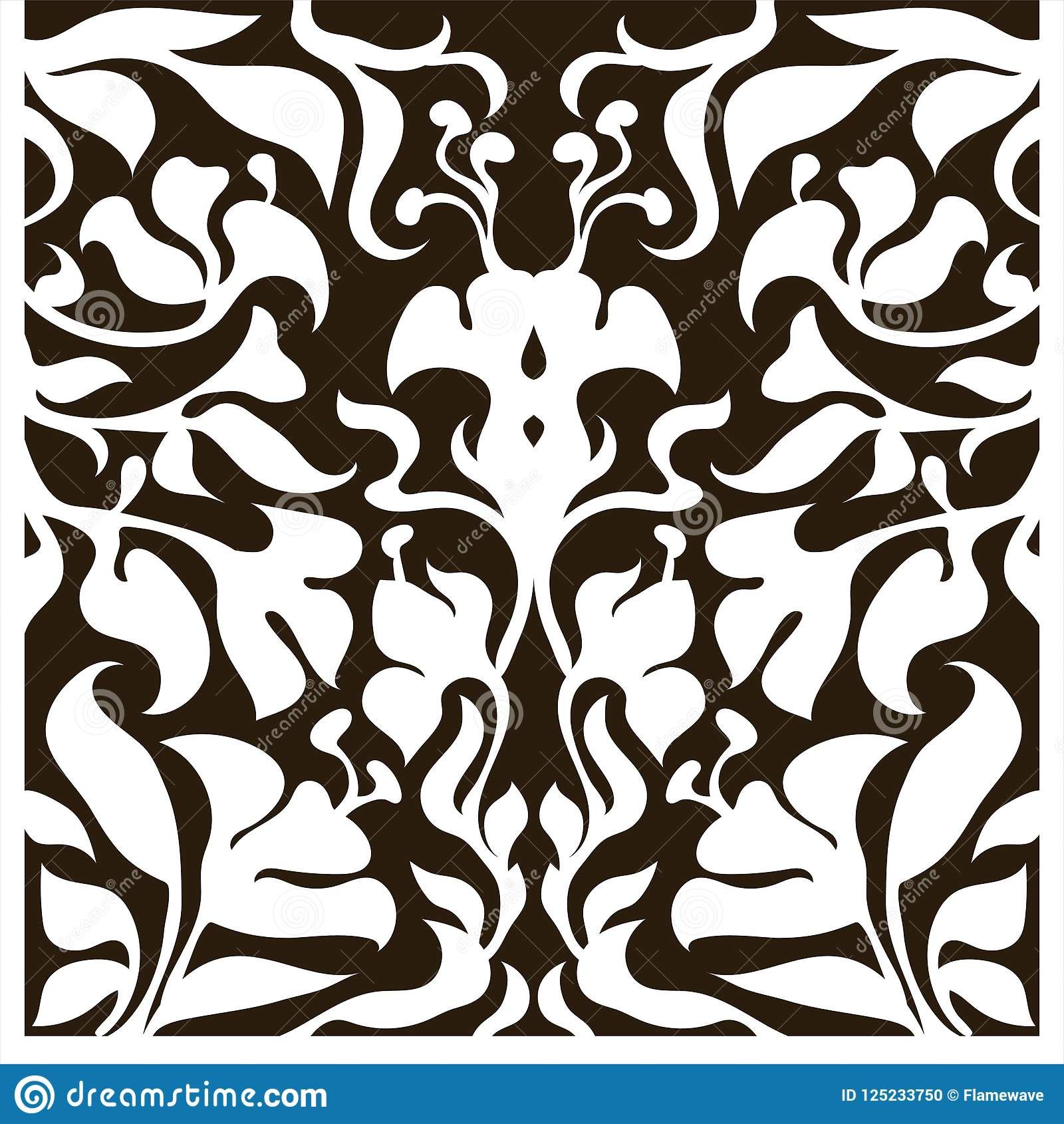 Decorative silhouette for cutting card, door, gate, window. Art Nouveau flowers pattern.