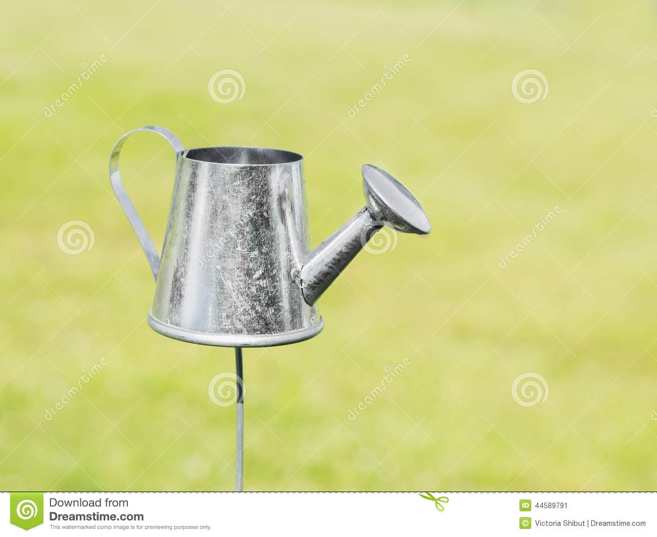decorative silver garden watering can stock photo - image: 44589791