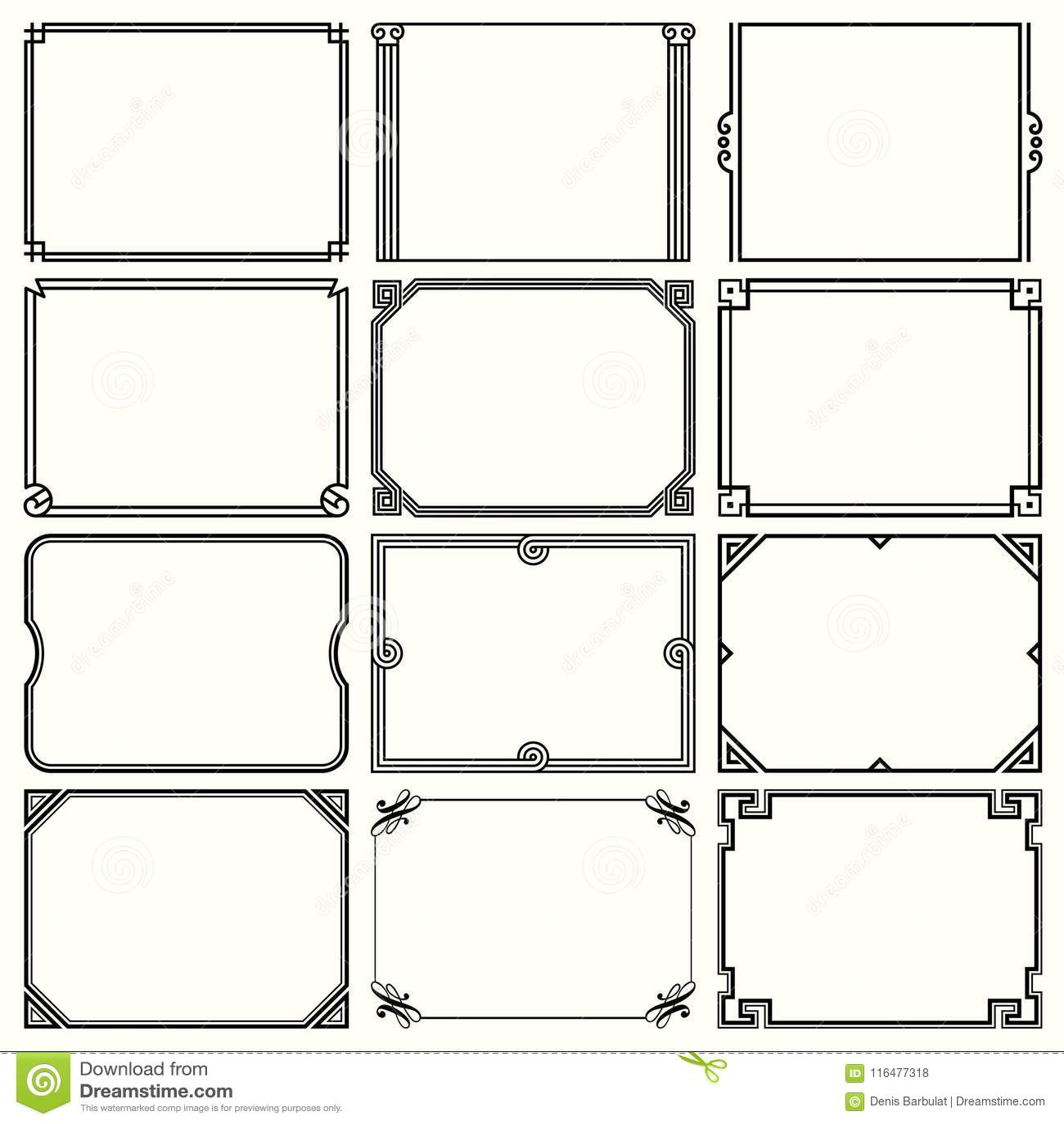 Decorative Simple Frames Set 8 Stock Vector - Illustration of ornate ...