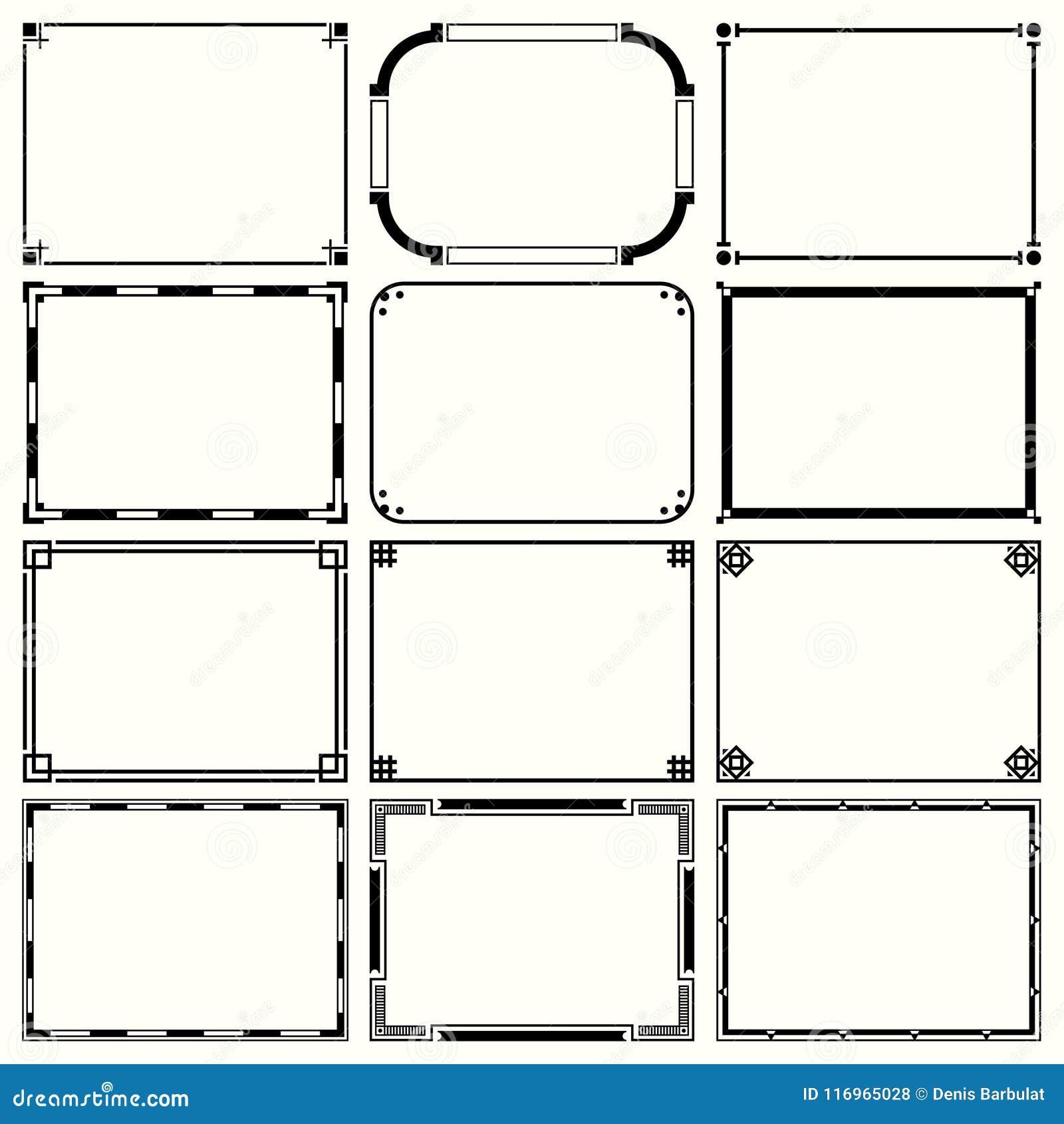 Decorative Simple Frames Set 14 Stock Vector - Illustration of ...