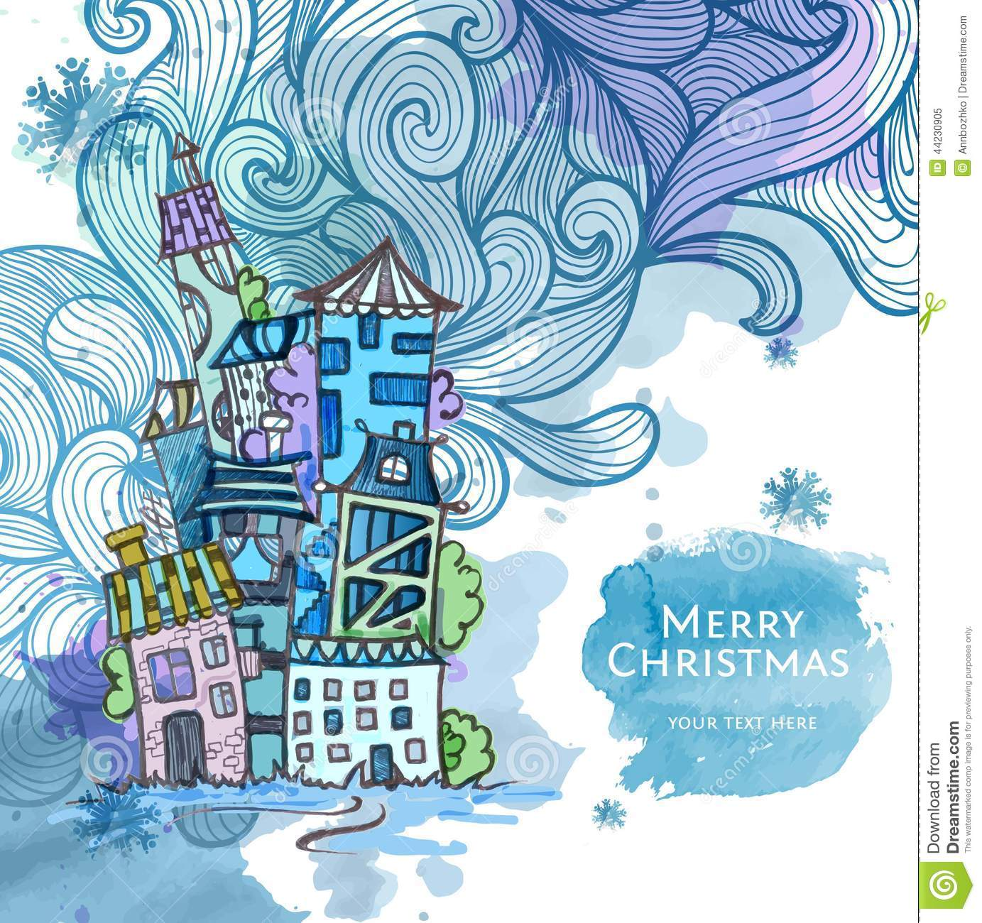 Decorative Sketch Of City. Christmas Background Stock Vector - Image 44230905