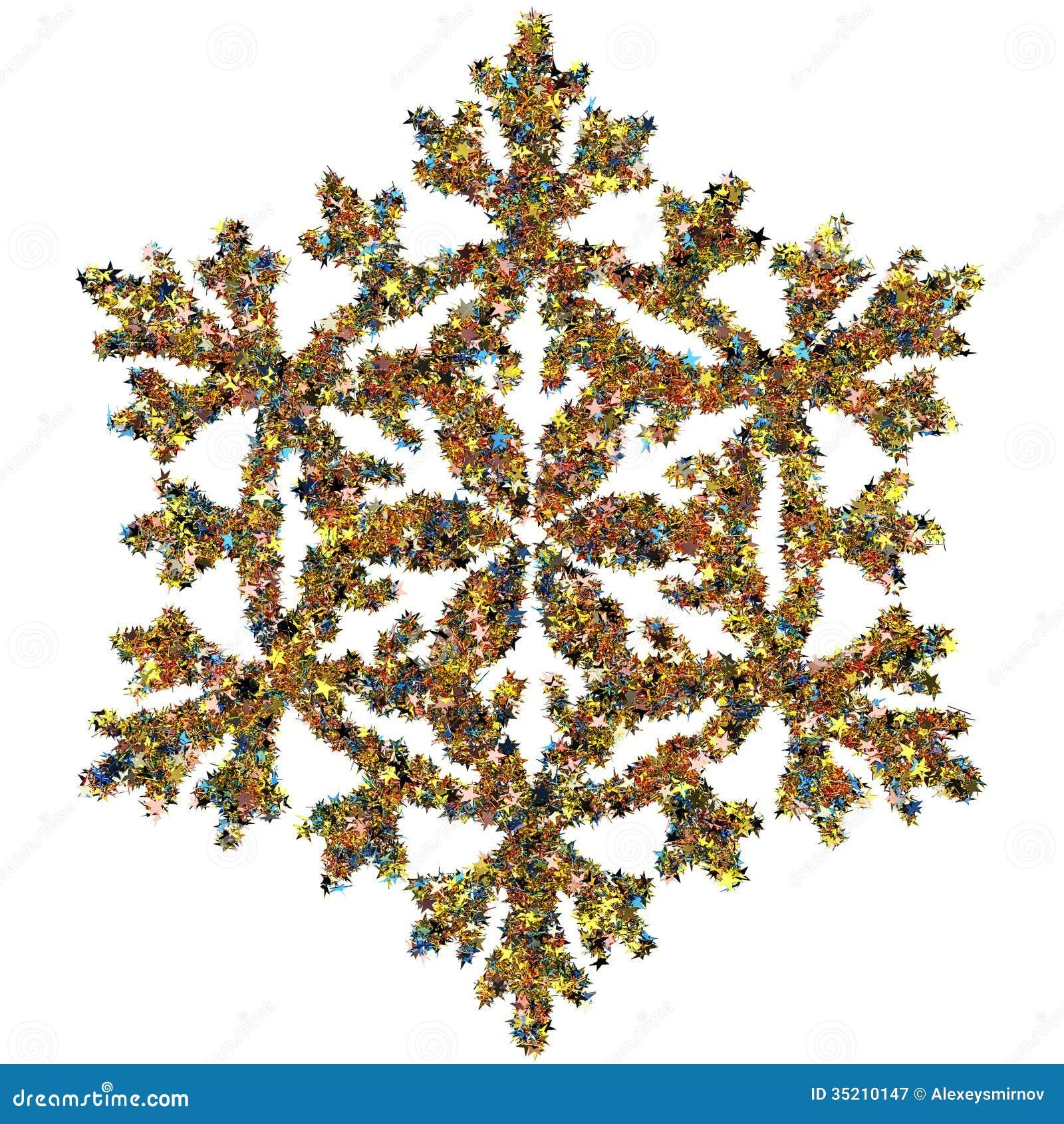 Decorative Snowflake Made Of Small Stars Confetti Royalty