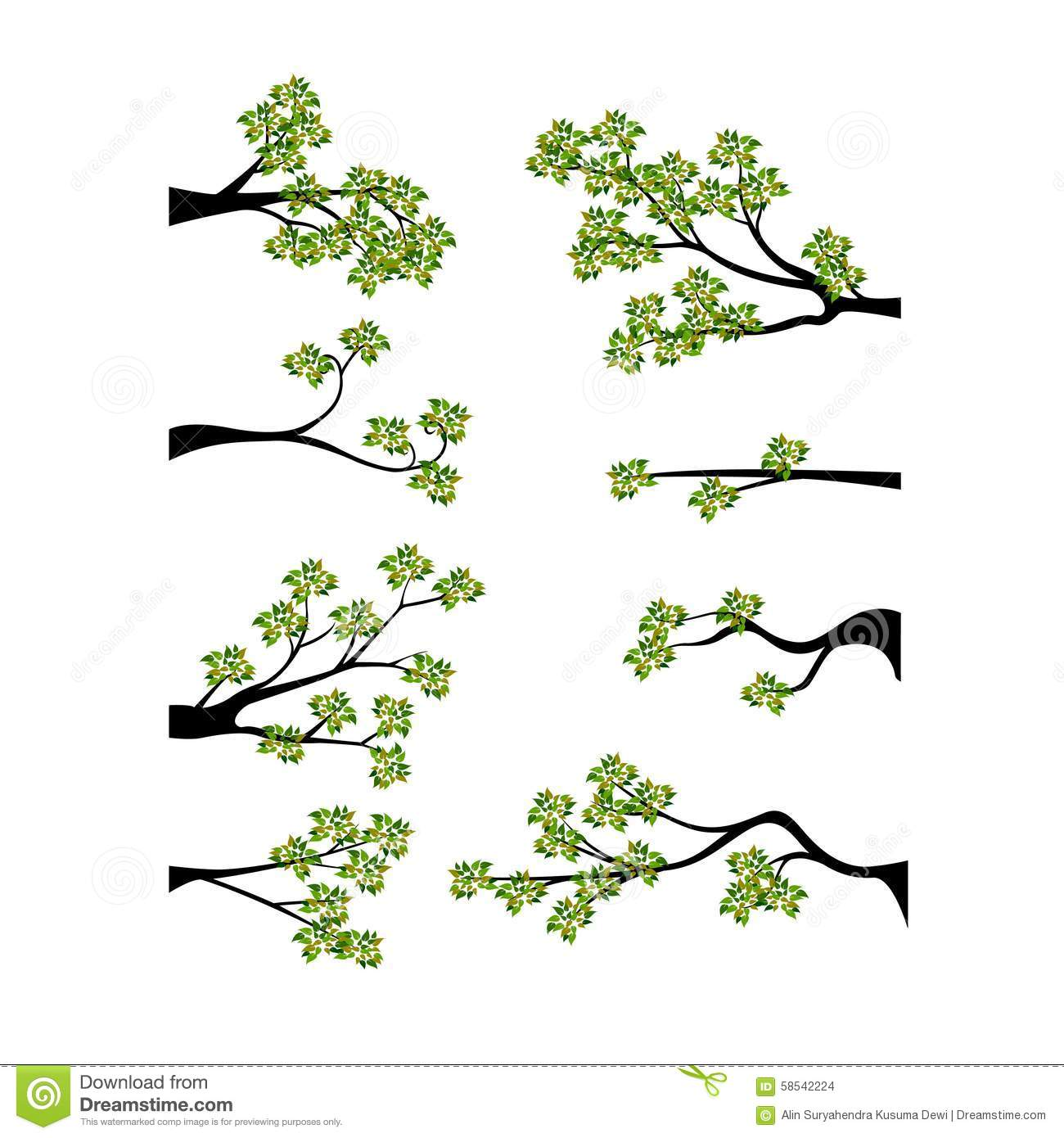 decorative spring branch tree silhouette with green leaves