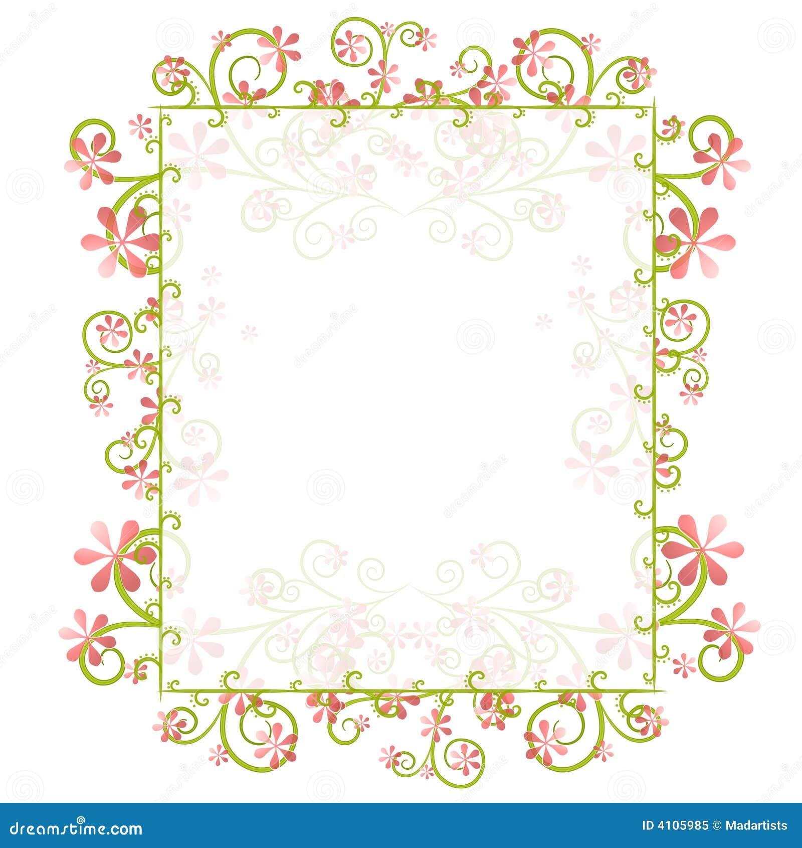 Decorative Spring Floral Border Frame Stock Illustration ...