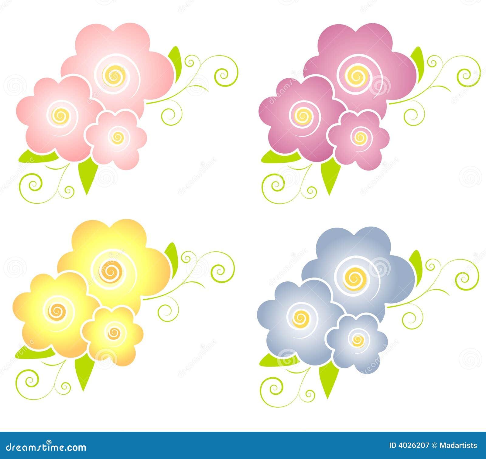 Decorative Spring Flowers Design Elements Stock Illustration