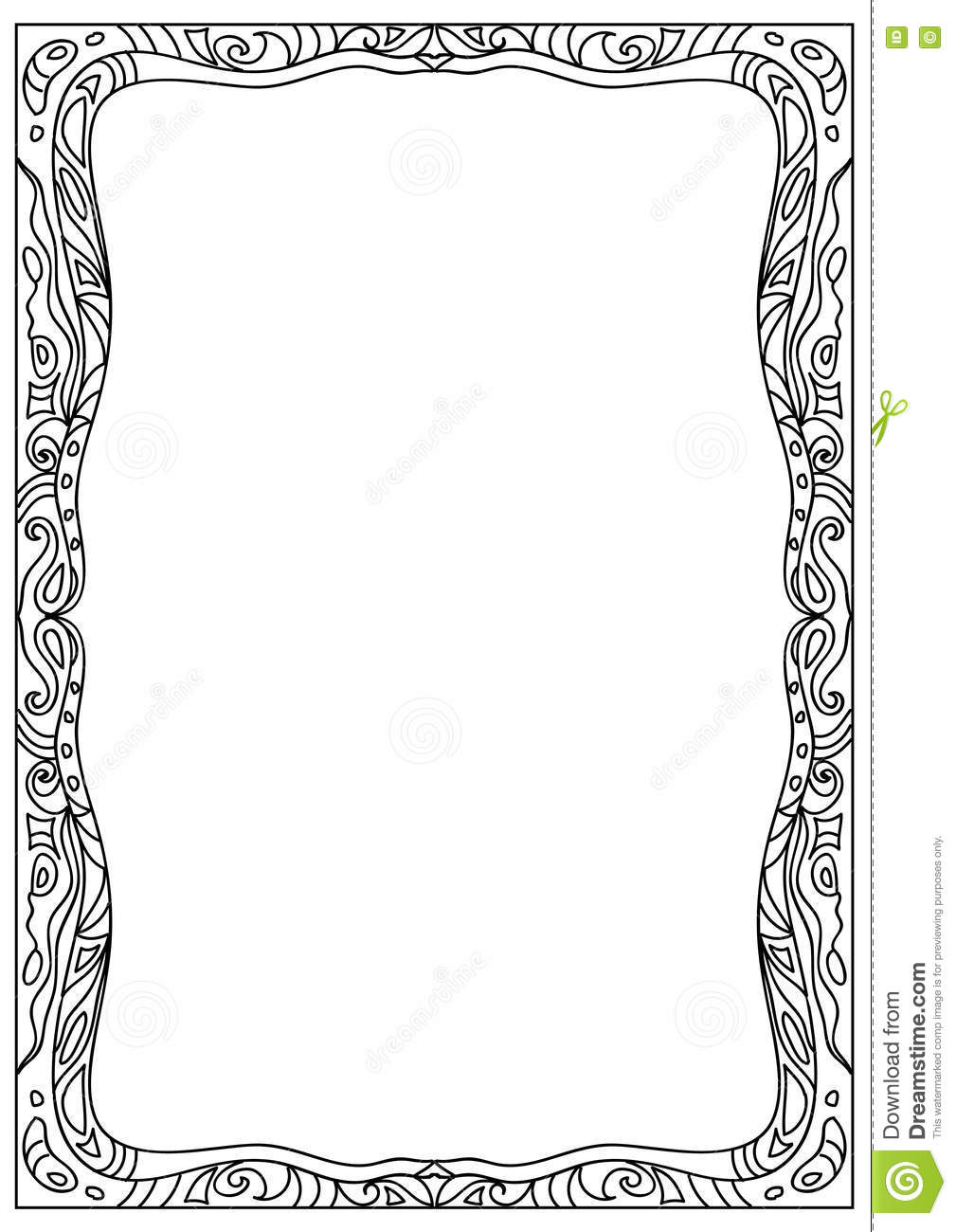 decorative square a4 format coloring page frame isolated on white