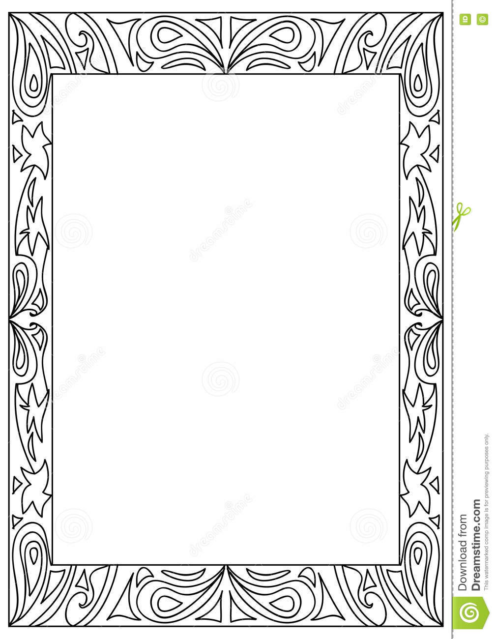 Uncategorized Frame Coloring Page decorative square a4 format coloring page frame isolated on white white