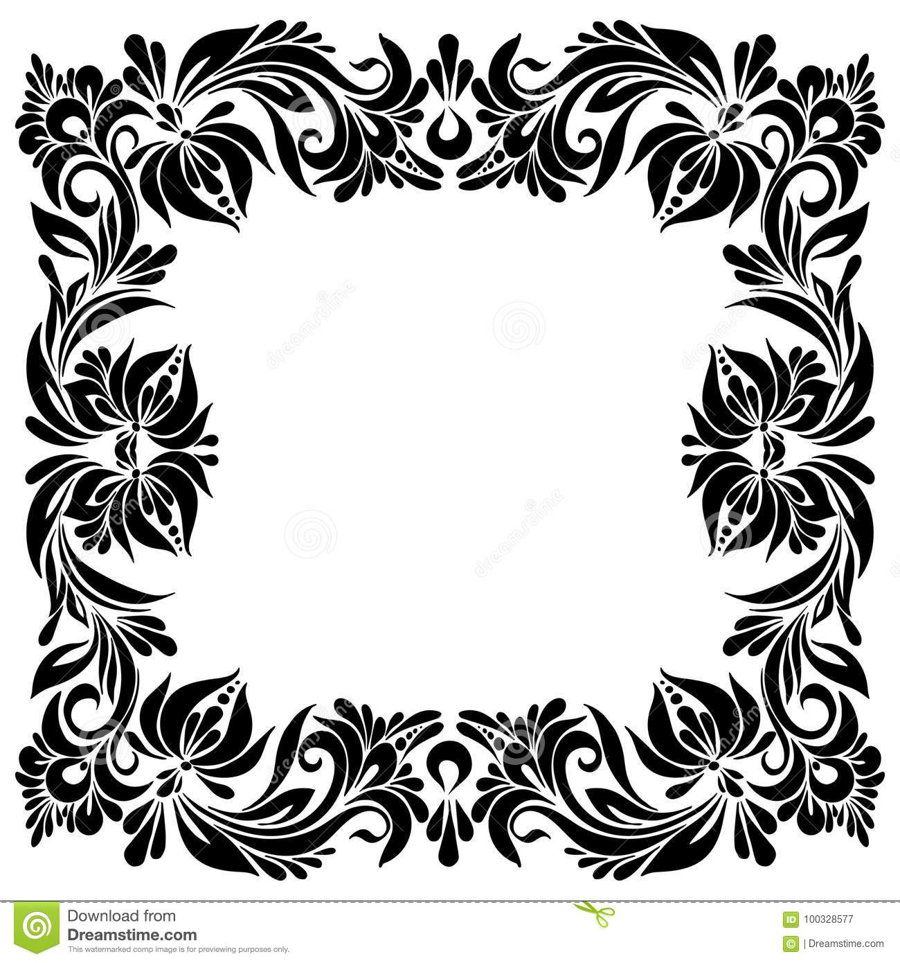 decorative square frame stock vector illustration of petrykivka