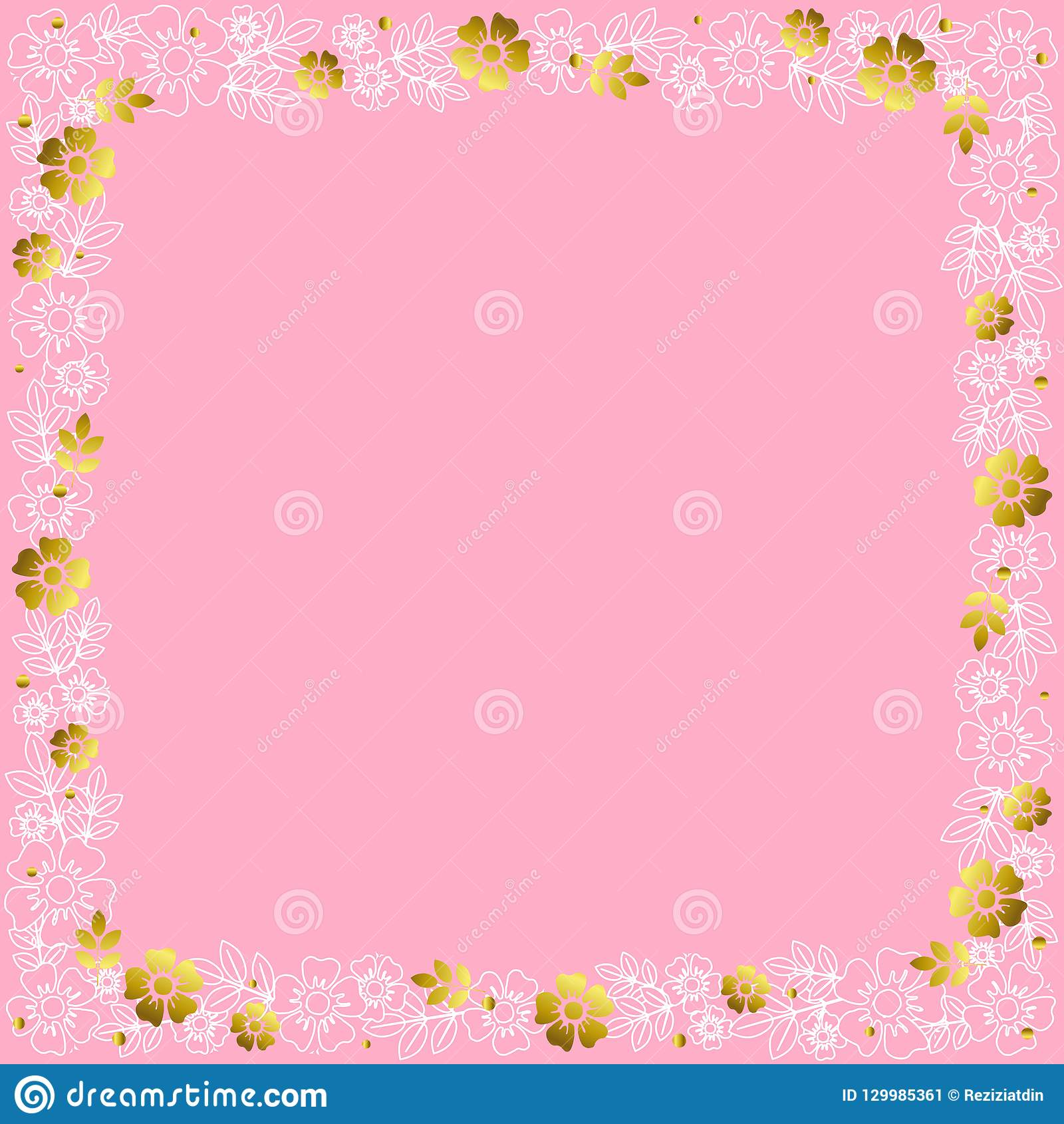 Decorative square frame of white outline and golden flowers and leaves on pink background