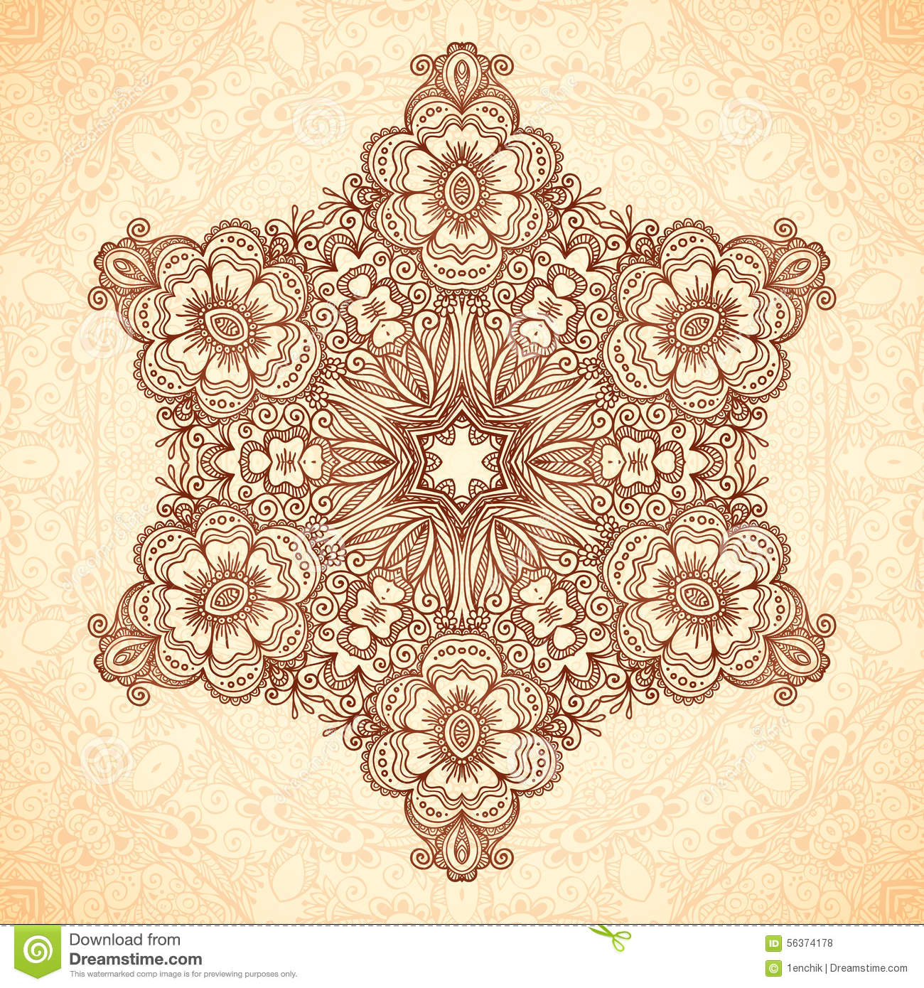 Ornate vintage vector background in mehndi style royalty free stock - Royalty Free Vector Download Decorative Star Mandala In Indian Mehndi Style Stock