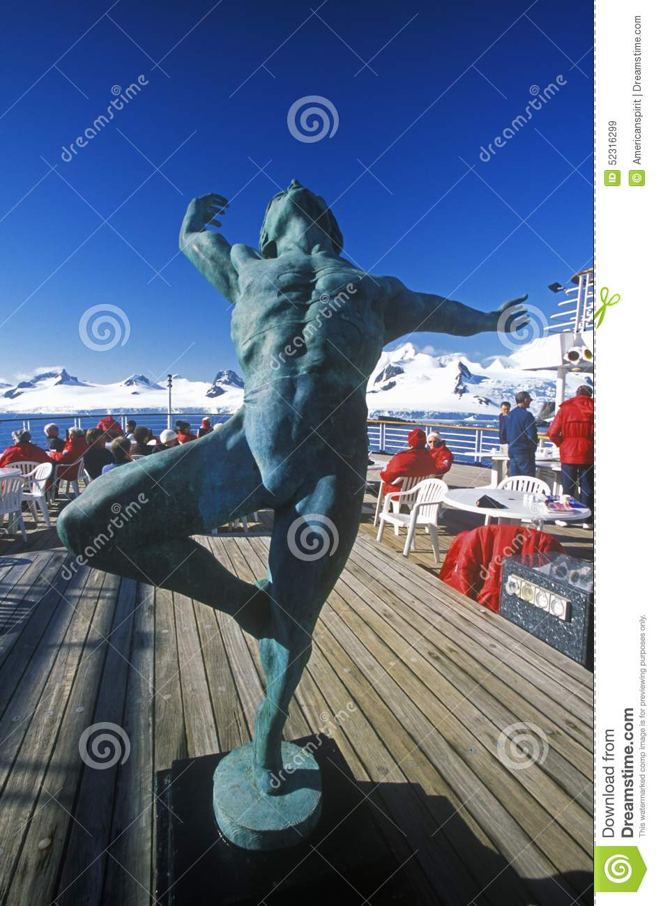 Decorative statue of man on the deck of cruise ship Marco Polo, Antarctica