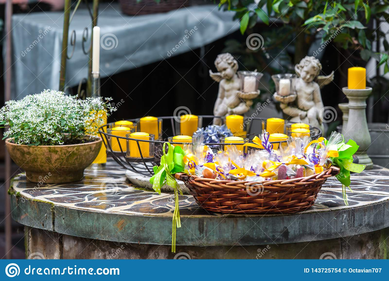 Decorative table with candles and flowers