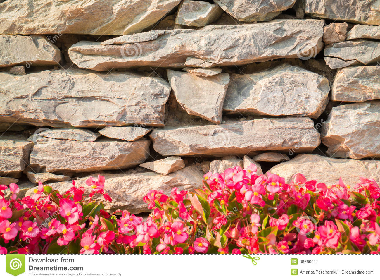 Decorative stone wall with colorful flowers stock image image royalty free stock photo download decorative stone wall amipublicfo Images