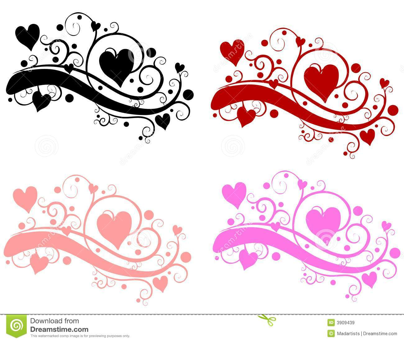 Decorative Swirls Valentine's Day Hearts Royalty Free Stock Images ...
