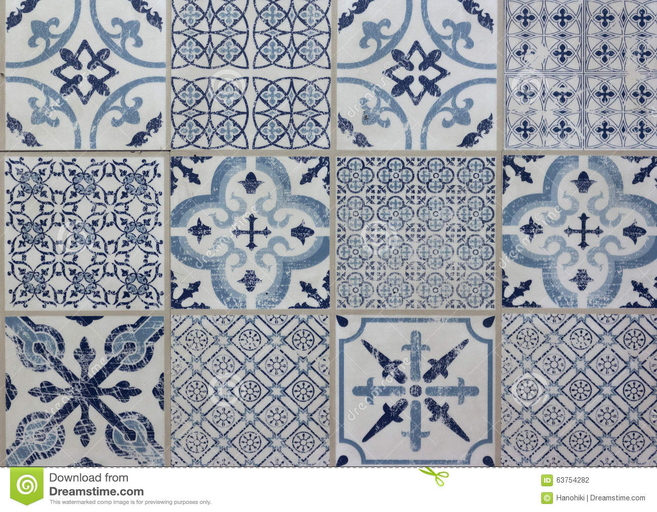blue decorative design patchwork pattern tile - Decorative Tile