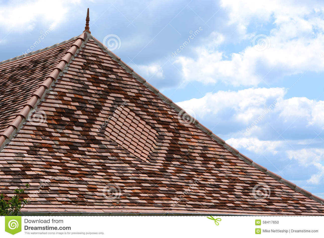 Decorative Tiled Roof With Finial Stock Photo Image