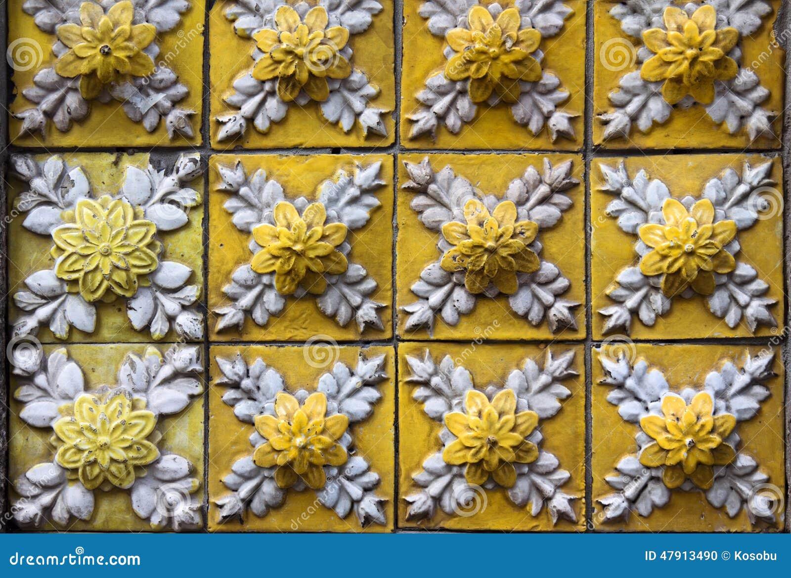Decorative Tiles On Facade Of House Porto Portugal Stock Photo
