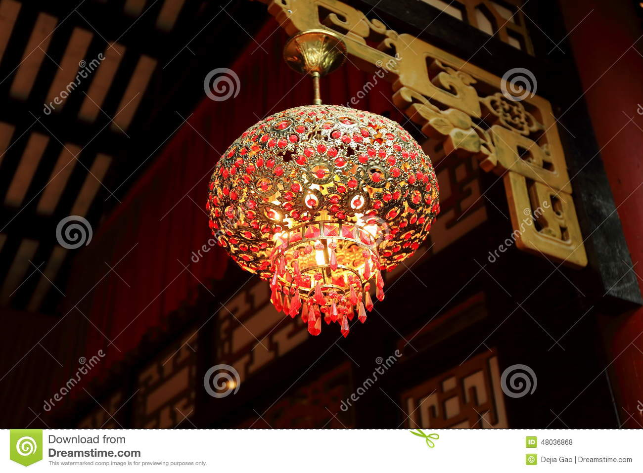 Chinese Red Lantern Ceiling Light Indoor Lamp Stock Photo - Image ...