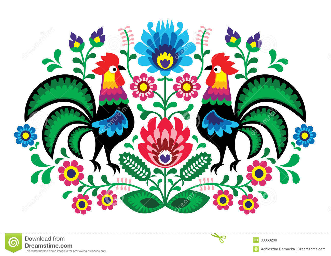 Polish floral embroidery with - traditional folk pattern