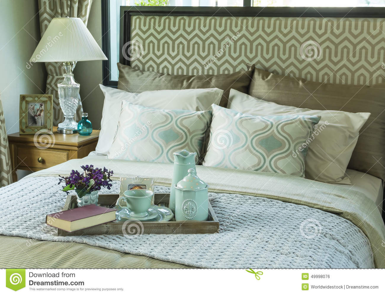 Decorative Tray With Tea Set On The Bed Royalty Free Stock