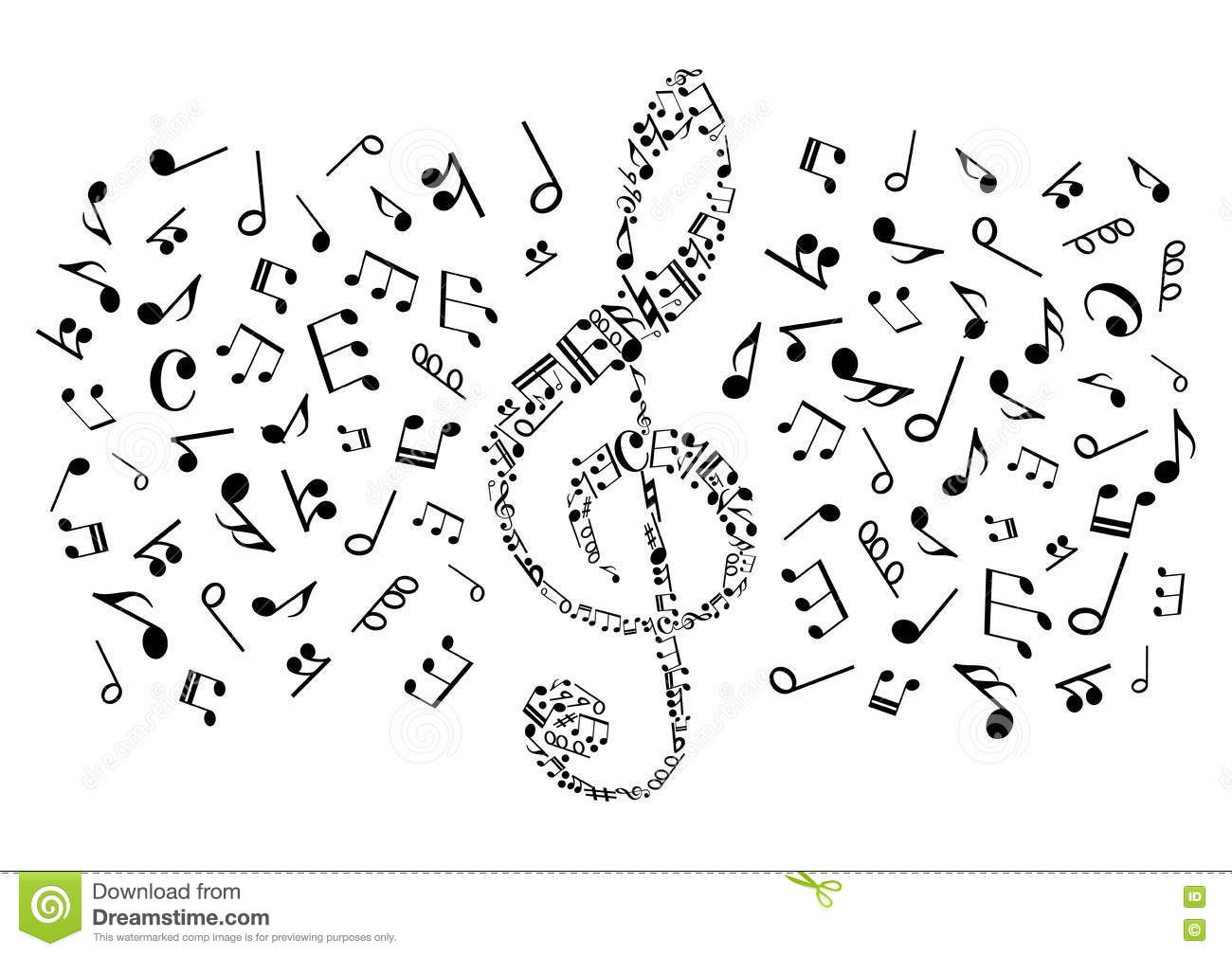 picture relating to Printable Music Notes Symbols named Attractive Treble Clef With Musical Notes, Symbols Inventory